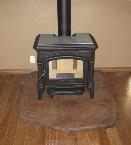 Heathstone Pheonix with custom stone hearth pad - GALLERY