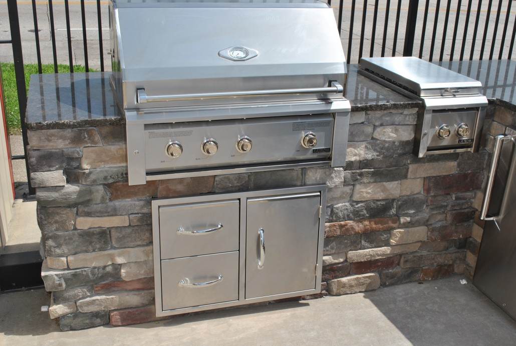 "Luxor 36"" Built-In Grill with Door Drawer Combo, and Double Side Burner"